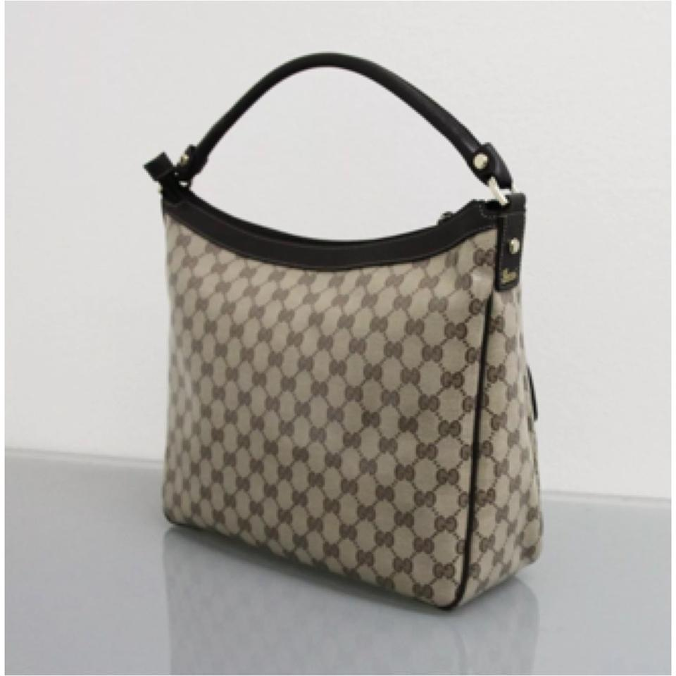 49a42baa3b3 Gucci Abbey 293581 Crystal Gg Canvas Convertible D Ring Tote Purse W  Leather Brown Beige Hobo Bag - Tradesy