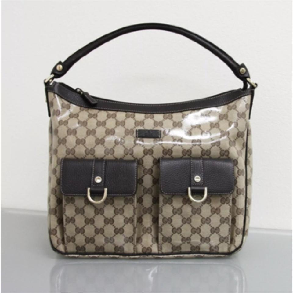 12bb5977d41 Gucci Abbey 293581 Crystal Gg Canvas Convertible D Ring Tote Purse W  Leather Brown Beige Hobo Bag