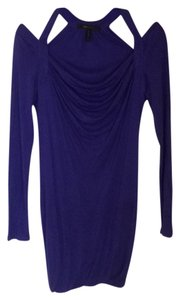 BCBGMAXAZRIA Indigo Cut-out Long-sleeved Mini Dress