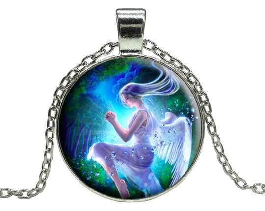 Annalee + Hope Angel Glass Cabochon Pendant Necklace