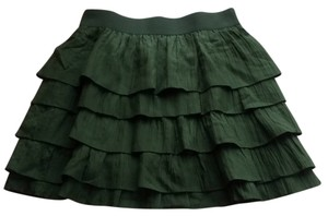 J.Crew Ruffle Green Olive Sage Tiered Mini Mini Skirt Olive green
