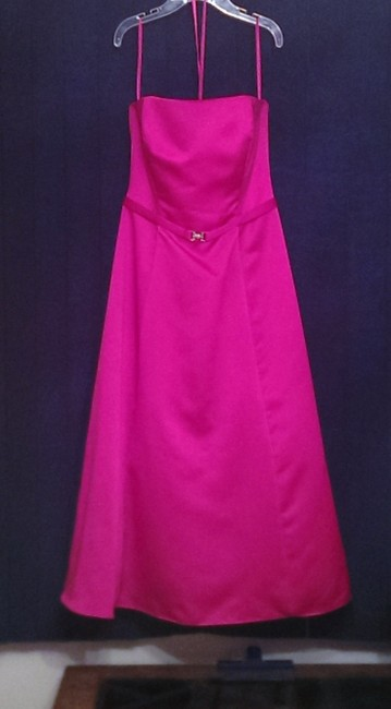Item - Begonia (Pink) Satin Strapless Tea Length Traditional Bridesmaid/Mob Dress Size 8 (M)