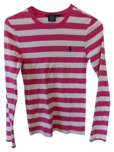 Ralph Lauren Sport Striped T Shirt fuchsia & white