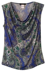Jennie and Marlis Top Blue and green paisley