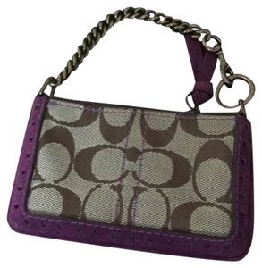 Coach Wristlet in Tan W/ Purple