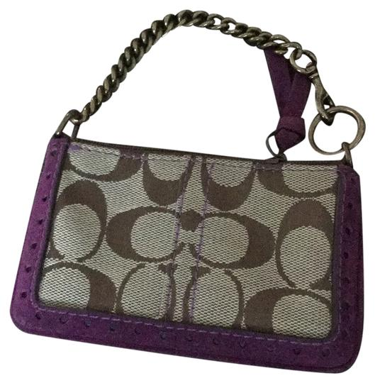 Preload https://item2.tradesy.com/images/coach-monogram-change-purse-tan-w-purple-canvas-and-suede-wristlet-10237306-0-1.jpg?width=440&height=440