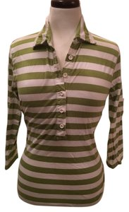 Talbots Top Green & White