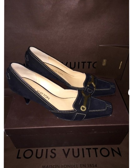 Louis Vuitton Suede Calf Leather Loafer Driver Heel Evening Work Lv Brass Logo Plate Noir Prada Gucci Tory Burch Chanel Manolo BLACK Pumps
