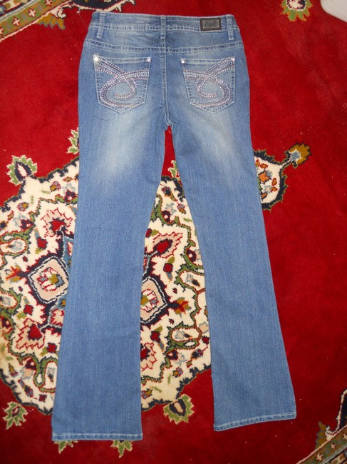 Earl Jean Rhinestone Boot Cut Jeans-Medium Wash
