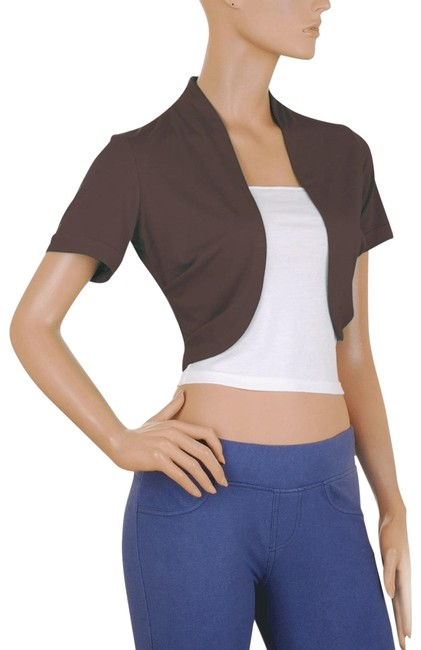 Brown Short Sleeve Bolero Shrug W/ Tube Top. 2 Separate Pieces Jacket Size 6 (S) Brown Short Sleeve Bolero Shrug W/ Tube Top. 2 Separate Pieces Jacket Size 6 (S) Image 1