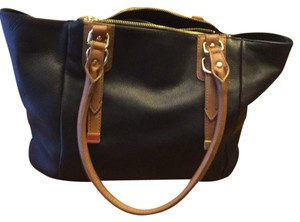 Audrey Brooke Satchel in Black With Tan Trim
