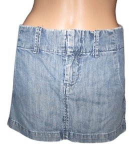 Lucky Brand Fun Old School Lucky Mini Mini Skirt Faded Denim