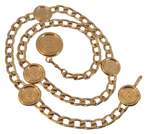 Chanel CHANEL GOLD PLATED CC MEDALLION CHAIN LINK BELT / NECKLACE