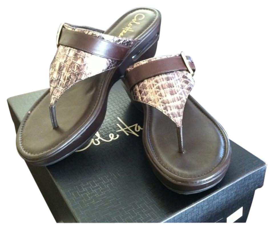 319ebc540edef Cole Haan Brown Nike Air Maddy Wedge Thong Sandals Size US 9.5 - Tradesy
