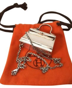 Hermès Authentic Rare Hermes Sterling Silver Kelly Bag Pill Box on Hermes Sterling Silver Chain