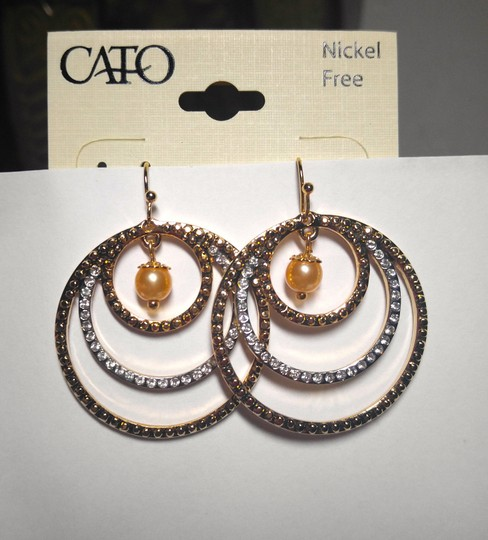 Other New Two Tone Circle Hoop Earrings W/ Pearl Gold Silver J1755
