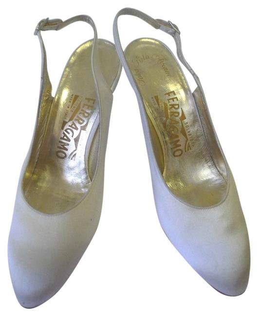 Item - White Saks 5th Ave. Slingback High Heel Satin Formal Shoes Size US 7 Narrow (Aa, N)