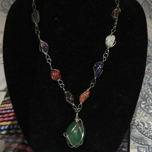 L.E.I. Lei Semi-Precious Encaged Stone Necklace
