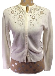 Other Ivory Beaded 50's Mid Century Cardigan