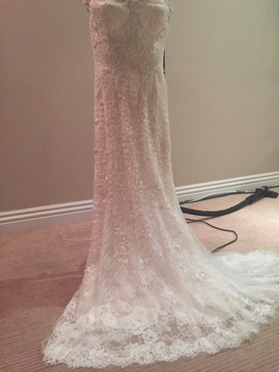 Monique Lhuillier White Silk and Chantilly Lace Gwyneth Dress Size 0 (XS)