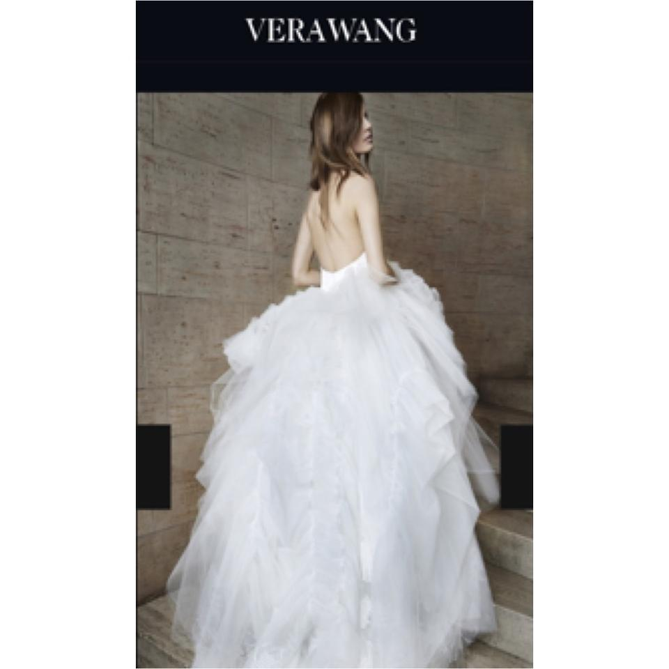 Vera wang white odette modern wedding dress size 2 xs tradesy junglespirit Image collections