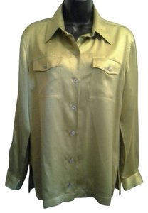 Chico's Chicos Silk Blouse Button Down Shirt Light Green Gold