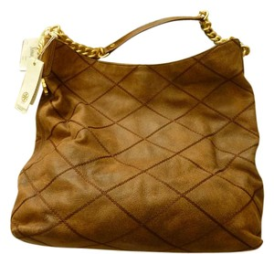 Tory Burch Logo Leather Hobo Bag