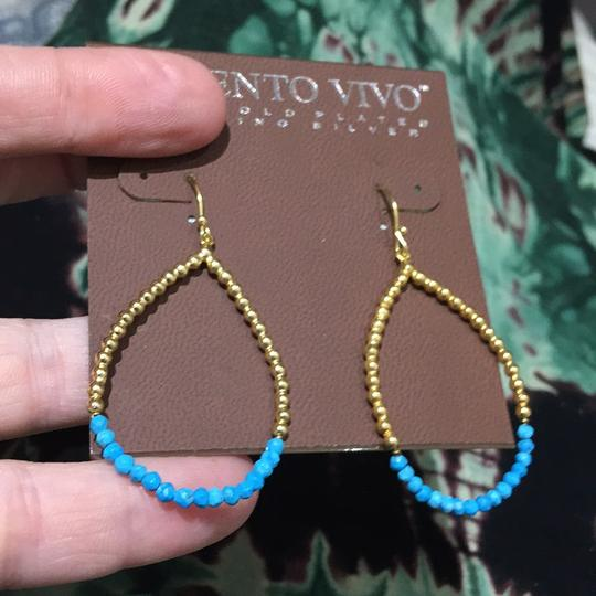 Argento Vivo Argento Vivo Turquoise And Gold Hoop Earrings
