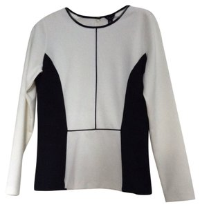 Ann Taylor Peplum Colorblock Top White and Black