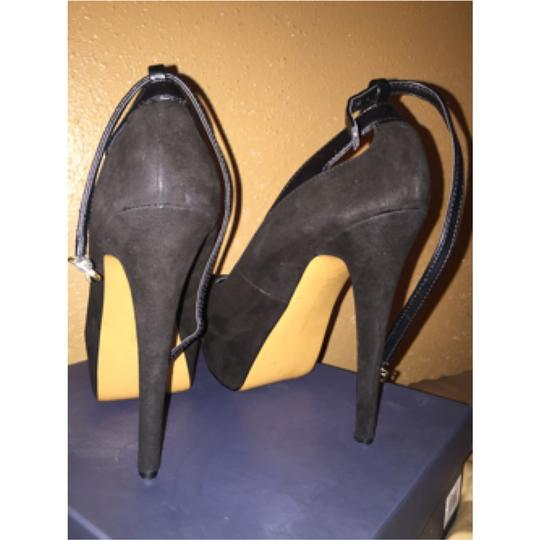 Halston Black suade and black leather Platforms