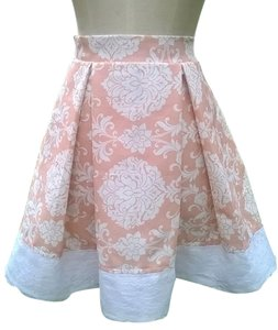 Lisa Nieves Short Pink Casual Lace Mini Skirt Light pink