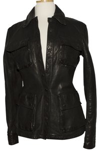 Burberry London Leather Size 6 black Leather Jacket