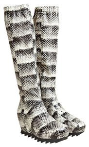 Camilla Skovgaard Wedge Snakeskin Shark Sole Gray Black White Multi Boots