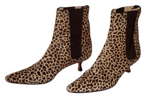 Manolo Blahnik Pointed Toe Kitten Heel Beatle Cheetah Animal Print Made In Italy Tan, black Boots