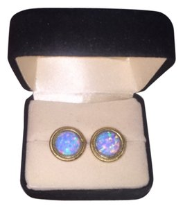 14k gold lab opal earrings 14k Gold Lab Created Opal Earrings