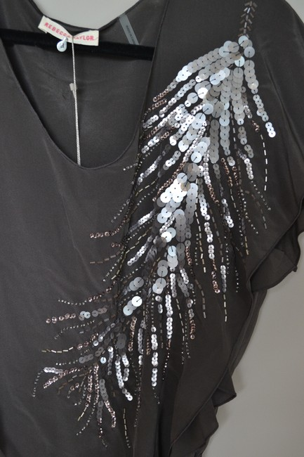 Rebecca Taylor Beaded Feather Silk Flutter V-neck Sequin Top Grey