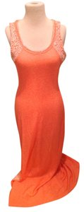 Coral/Cream Maxi Dress by Guess Maxi Slit Sleeveless Low Back