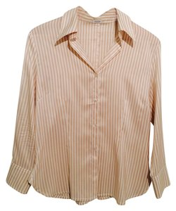 Agnona Silk Ivory Striped Button Down Shirt beige and white