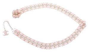 Chanel CHANEL PINK CAMELIA GOLD BELT