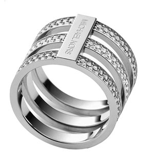 Michael Kors Price reduced 10% until August..SET-Clear Pave Tri-Stack Ring (Size 7 or 8) & Silver Tone Hoop Earrings