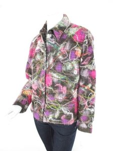 Chico's 1 Pink Fuzzy Yarn Wearable Art To Wear Artsy Coat Blazer Multi-Color Jacket