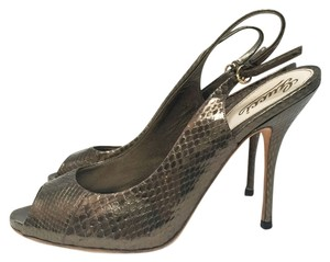 Gucci Python Slingback Peep Toe Metallic Leather Bronze/Gold Pumps