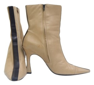 Chanel Leather Bootie Tan and Black Boots