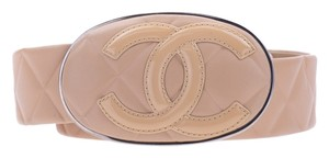 Chanel CHANEL BEIGE CC OVAL BUCKLE LEATHER BELT