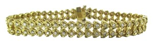 14KT YELLOW GOLD SOLID 94 DIAMOND 2 CARAT DOUBLE ROW HEARTS BRACELET FINE JEWEL