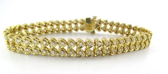 Other 14KT YELLOW GOLD SOLID 94 DIAMOND 2 CARAT DOUBLE ROW HEARTS BRACELET FINE JEWEL