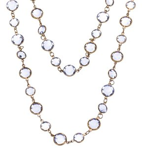 Chanel Chanel Blue Chiclet Glass Necklace 1981