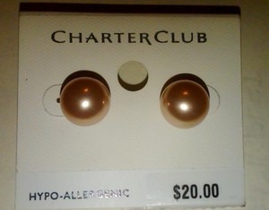 Charter Club Pink Faux Pearl Stud/post Earrings -12mm