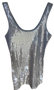Express Sequin Top Silver