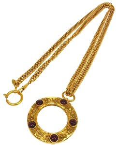 Chanel AUTH CHANEL VINTAGE CC LOGOS GOLD CHAIN LOUPE PENDANT NECKLACE 23 FRANCE JT00988